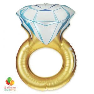 Gold Jumbo Wedding Ring Mylar Balloon 37 inch Inflated delivery from Balloon Shop NYC