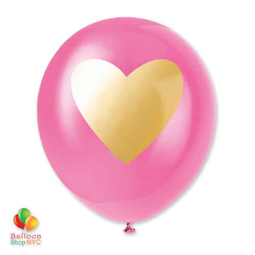 Bubblegum Gold Heart Latex Balloon 11 Inch delivery from Balloon Shop NYC