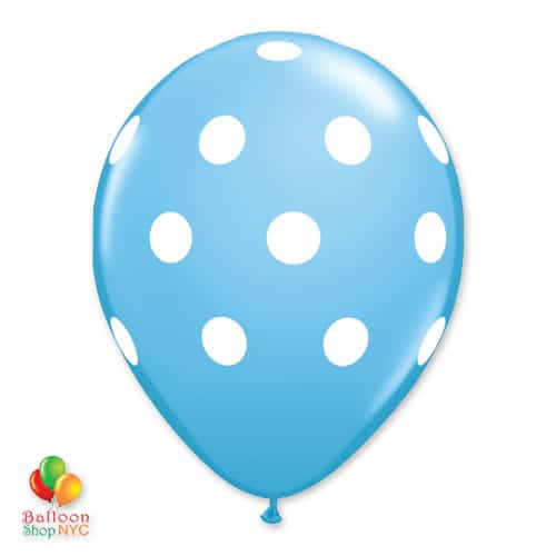 Pale Blue with White Dots Latex Balloon delivery From Balloon Shop NYC